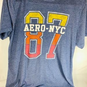 AeroPostale Blue Teen Large T-Shirt AERO-NYC sewn